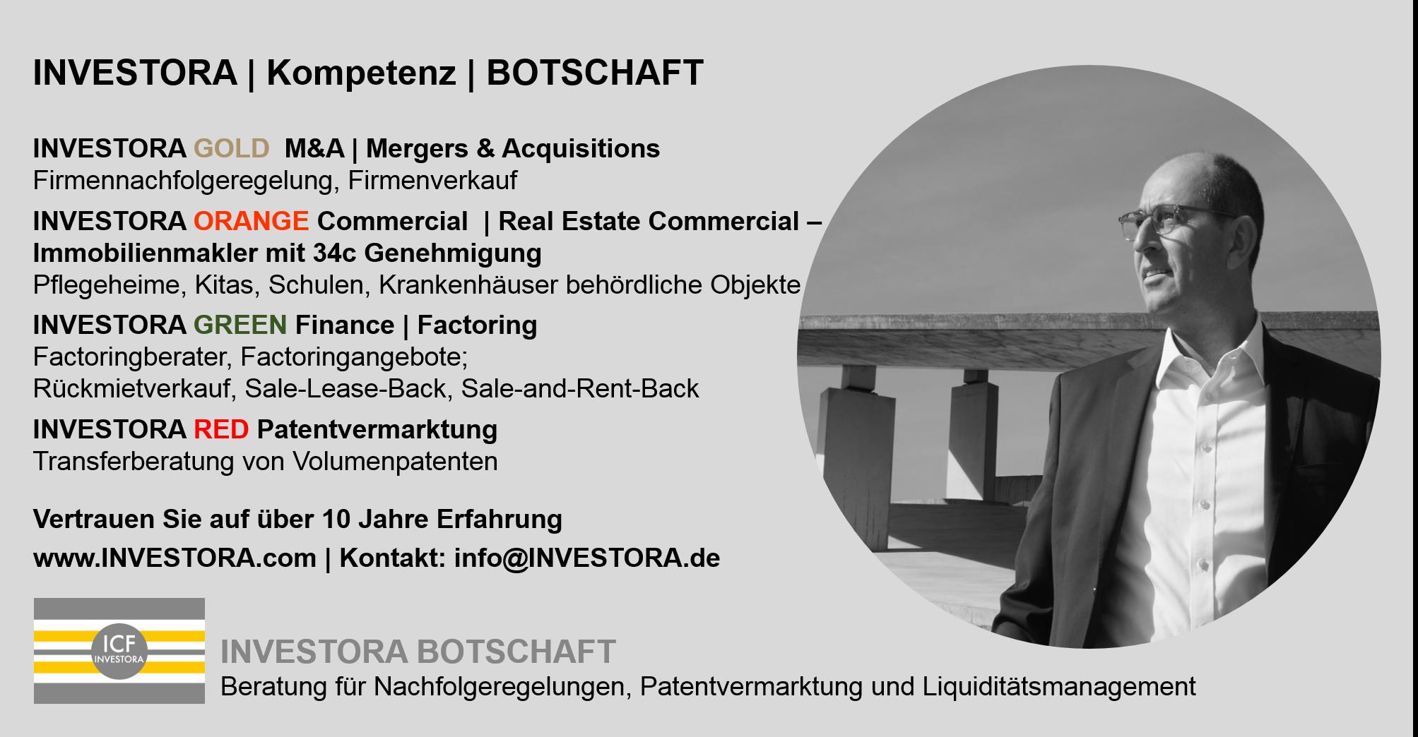 INVESTORA Nachfolgeregelung Patentvermarktung Liquiditaetsmanagament Sozialimmobilien